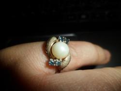 Aranyozott ezüst gyűrű / gyöngy, zafír