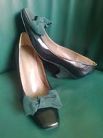 HIBÁTLAN spanyol nubuk/lakkbőr elegáns cipő bőr talppal