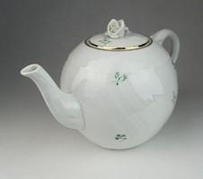 0R301 Régi virágmintás Herendi porcelán teáskanna