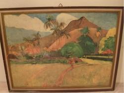 E 10 FESTMÉNY Tahiti Paul Gauguin stÍlus karton akvarell 55x42 cm