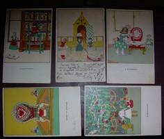Kozma Lajos Ludwig Kozma levelezőlapjai 5 db litho