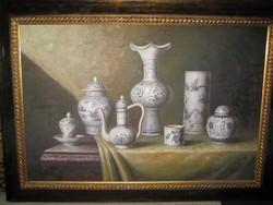 Csendélet , porcelánokkal ,festmény  olaj - vászon   , S. Stone  szignóval