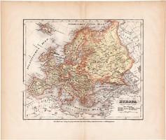 Európa térkép 1871, lexikon melléklet, német nyelvű, eredeti