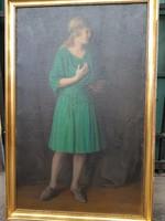 """Huber István """"Zöld ruhás nő """""""