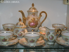 Luxurious Coffee Set, Handmade Porcelain 24kt Gold Complete Collection: Cup, Spout, Sugar Holder