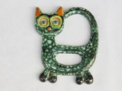 Macska, cica retró mázas kerámia falidísz 1