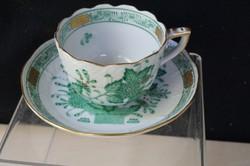 Herendi zöld Indiai kosár mintás mokkás csésze aljjal