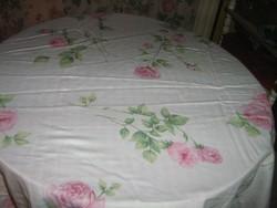 Gyönyörű rózsaszín rózsás és kockás kétoldalas vintage paplanhuzat