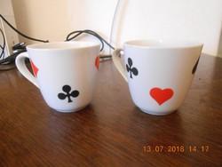 Zsolnay porcelán kártyamintás kávés csésze 2 db