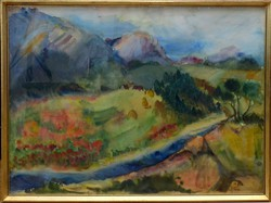 Eredeti M. Németh, nagyméretű  akvarell, keretezve, üvegezve