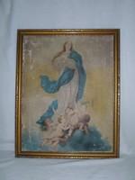 Régi nagy fa képkeret, benne vallási, vallásos kép 54 x 43 cm