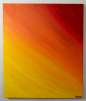 Narancs absztrakt vászon festmény , 50x60 cm