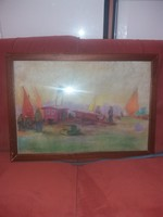 Poll Hugó szignós, pasztellfestmény, keretben, üveg alatt