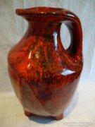 Fantasztikus vérvörös retro iparművész kerámia váza
