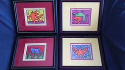 Original ! 4 db keretezett Keith Haring lithográfia !