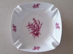Hollóházi porcelán lila virágos hamutartó hamutál hamuzó 14 cm