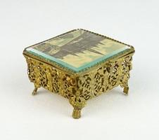 0R432 Antik bécsi réz ékszeres dobozka