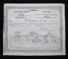 Buda-Óbudai Népbank mint Önsegélyző Intézet részjegy 100 forint 1869 - Óbuda