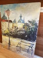 Hangulatos városrészlet - festmény /45×56,5cm/