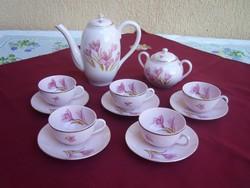 Antik Zsolnay rózsaszínű kávéskészlet