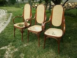 Ritka! Karfás és magas háttámlás nádazott thonet szék  - karosszék - 6500/db