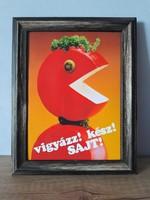 Magyar retró vigyáz! kész! sajt! kép keretben
