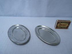 2 db, retro  fém, játék pecsenyés tálca, 10 x 7 cm