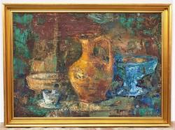 Vati József (1927-1917) Csendélet c. képcsarnokos festménye EREDETI GARANCIÁVAL !!