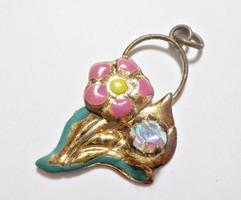 Régi kis zománc festett  aranyozott medál