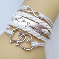 One Direction Ötsoros Bőr Dupla Szív Love Karkötő Fehér