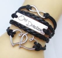 One Direction Ötsoros Bőr Dupla Szív Love Karkötő Fekete