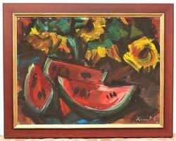Kunt Ernő (1920-1994) Csendélet c. képcsarnokos festménye 95x75cm EREDETI GARANCIÁVAL !!