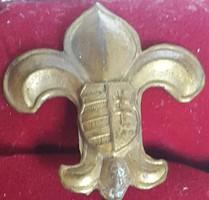 Cserkész jelvény,cimerpajzsos,kabáthajtűs, bronz, magassága:27mm,szélesége 24mm,
