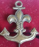 Vízi cserkészjelvény, kabáthajtű jelvény, címerpajzsos ,bronz,mérete:22mm,szélesége:20mm
