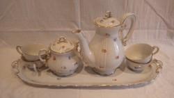 Zsolnay porcelán kávéskészlet tálcán