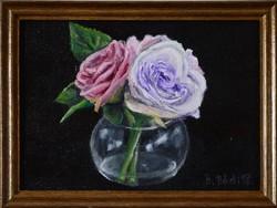 Miniatűr olajfestmény, Rózsák, csendélet, keretben. 17,5x12,5 cm