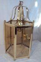 Csillár - tömör - nehéz sárgaréz  vastag csiszolt üvegekkel. 40 x 21 cm