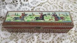 Csontlapra festett képpel-intarziás doboz-iráni-perzsa doboz