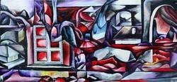 Petre István No.5. szép, modern olajfestmény, 65x40 cm