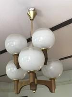 Retró csillár hat karral, opál üvegbúrákkal