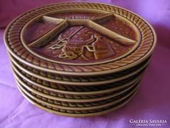 6 db Sarreguemines majolika retro tányér