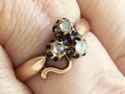 Antik Szecessziós 14 K Arany Zománc Gyémántok Gyűrű Szerencsehozó Lóhere