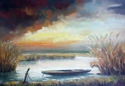 Nádas csónakkal, modern realista stílusú festmény szignálva keretezve.