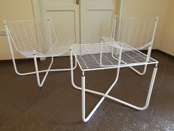 Skandináv, Loft design fém asztal, üveglappal