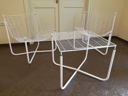 Skandináv, Loft design fém garnitúra 2 db fotel és asztal