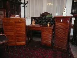 Igazi ritkaság! Három részes rolós eredeti antik Art Deco Lingel irodai garnitúra / íróasztal