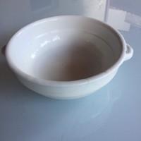 Vastag, füles mély, régi cseh porceln kínálótál (fehér tál)