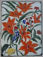 Narancssárga virágok -: TŰZZOMÁNC KÉP