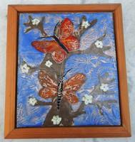 Pillangók a virágba virágzó fán - tűzzománc kép