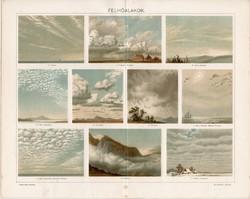 Felhőalakok, 1896, színes nyomat, litográfia, eredeti, régi, felhő, cumulus, nimbus, stratus